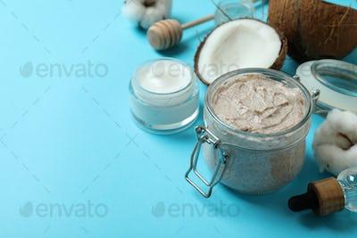 Skin care scrub concept on blue background