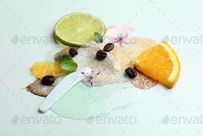 Skin care scrub concept on white background