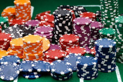 Stacks of playing chips on casino table