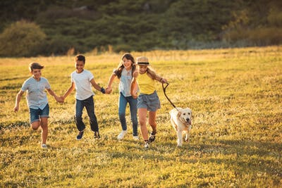 happy multiethnic teenagers holding hands and running with dog in park