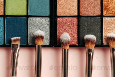 Make-up palette and brushes. Professional eyeshadow palette