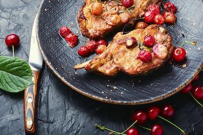 Pork chops in cherry sauce