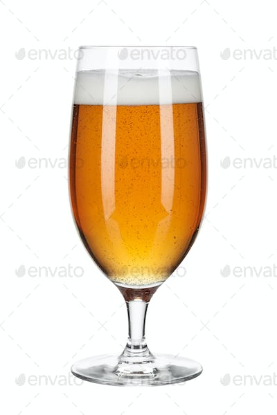 Glass of beer isolated on a white background. creative photo