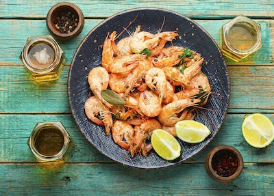 Delicious boiled prawns and beer