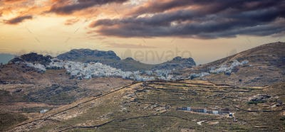 Cyclades, Greece. Serifos island, Chora town at sunset