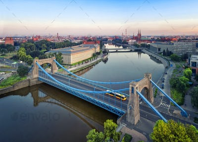 Aerial view of Grunwald Bridge in Wroclaw, Poland