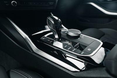 Luxury car gear shifter knob close up