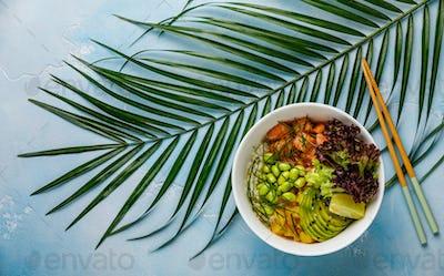 Salmon Poke bowl raw fish salad