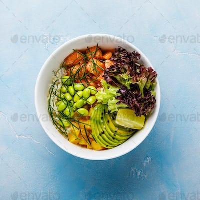 Salmon Poke bowl raw fish Asian salad