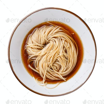 Asian Ramen noodles with broth in bowl isolated