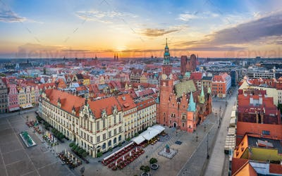 Rynek square with  gothic Town Hall in Wroclaw, Poland