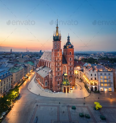 Aerial view of St. Mary's Basilica in Krakow, Poland