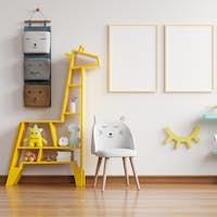 Mock up poster frame in children room.
