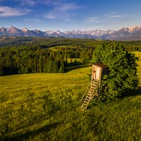 Hunting  Tower on Meadow in Lapszanka in High Tatras Mountains in Poland