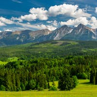 Panoramic View over Lapszanka Valley and High Tatras Mountains in Poland