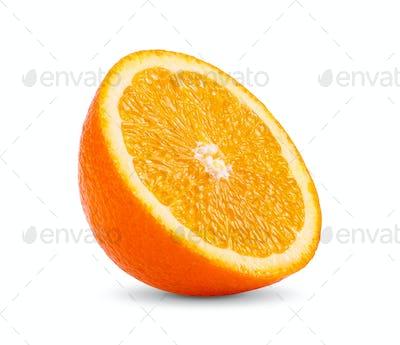Ripe half of orange citrus fruit isolated on white background