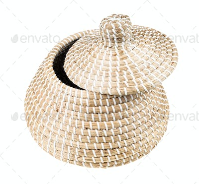 wicker basket from seagrass with slightly open lid