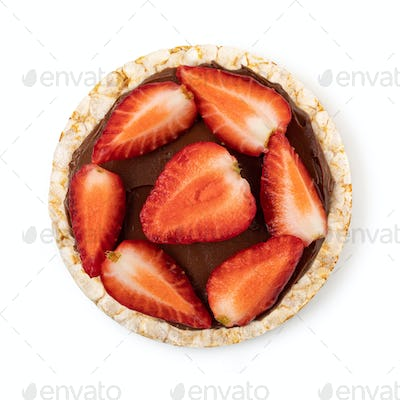 Rice cakes with chocolate paste and strawberry