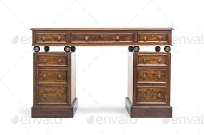 Old renovated desk with drawers and steel balls