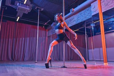 Gorgeous young woman dancing on pylon in nightclub