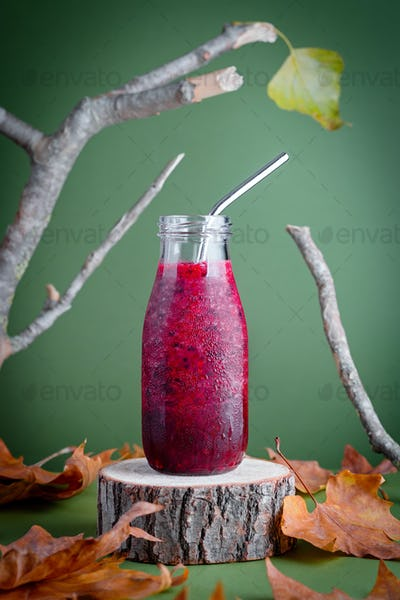 Immune system boosting red berries smoothie with raspberry and blackberry