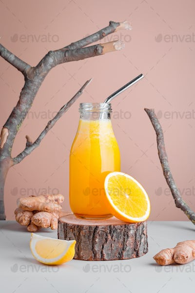 Immune system boosting smoothie with ginger, lemon and turmeric