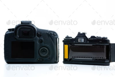 Rear view of digital camera and analog camera white background.