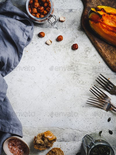 Food frame background with seasonal fall products.