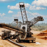 Giant bucket wheel excavator. The biggest excavator in the world. The largest land vehicle.
