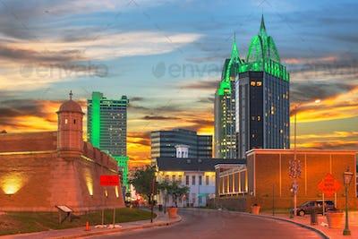 Mobile, Alabama, USA Downtown Skyline with Fort Conde.