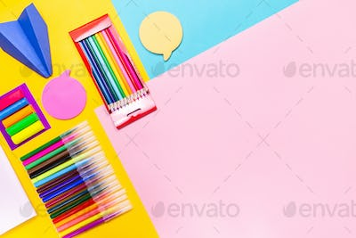 Back to school supplies background, copy space