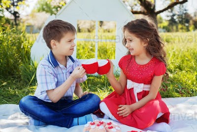happy and cheerful boy and girl on a picnic. The concept of childhood and lifestyle.