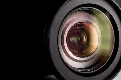 Close up of a digital camera lens.