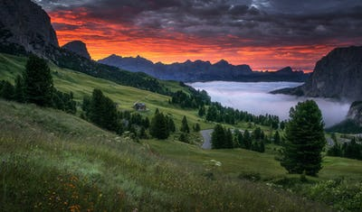 Summer sunrise in the mountains