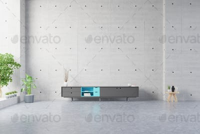 Mortar rack TV with cement screen wall on the wall in modern living room.