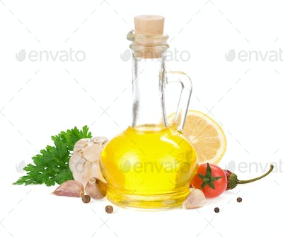 food ingredients, spice and oil isolated on white