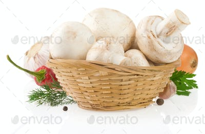 mushrooms and food ingredient isolated on whit