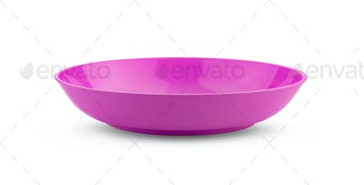 empty pink bowl on white background