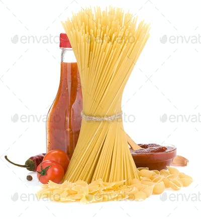 uncooked raw pasta and food spices