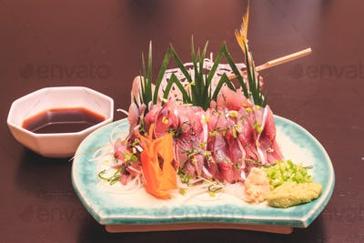 Mackerel sashimi, Japanese food