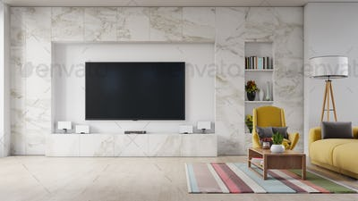 Modern living room interior sofa and armchair ,TV on cabinet in modern living room.