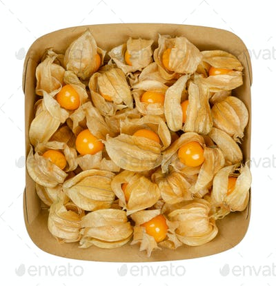 Fresh goldenberries, ground cherries in their husk, in snacktray