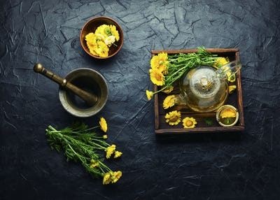 Glass teapot with flower tea,herbalism