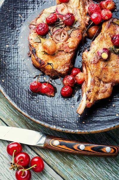 Barbecue pork spare ribs in cherry sauce