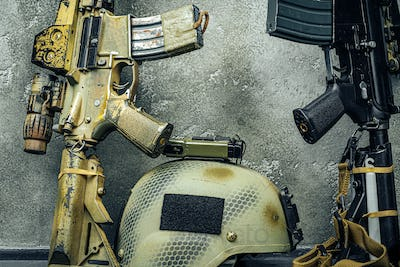 Modern weapon series. US Army assault rifle, close up