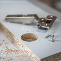 Close-up of self-tapping screw, wood screw in craft.