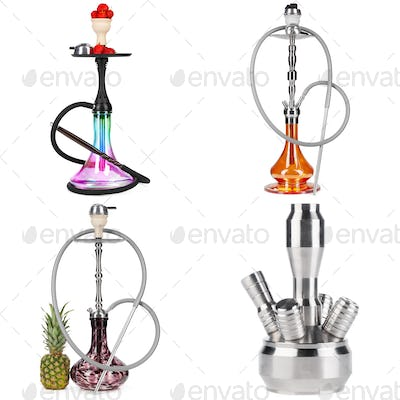 Collage of hookah isolated on a white background