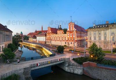 Wroclaw, Poland. Embankment of Odra river near Tamka island
