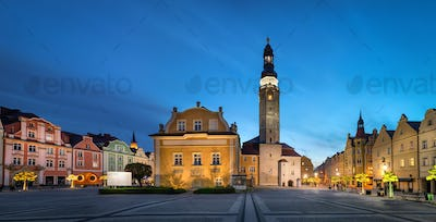 Boleslawiec, Poland. Market Square with building of Town Hall