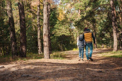 back view of father and son walking together in autumn forest